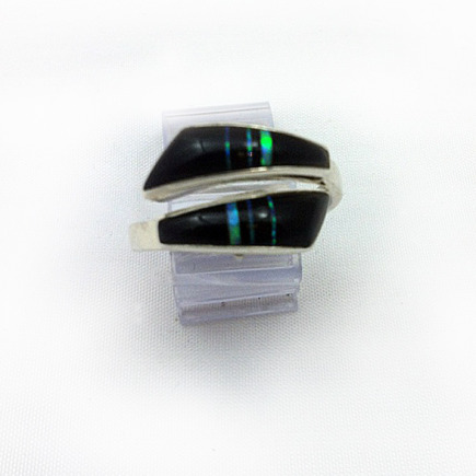 Black Onyx and Lab Opal Ring